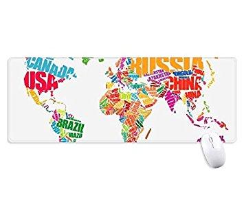 3CTOP – Alfombrilla de ratón para videojuegos, diseño de mapa del mundo, impermeable, multifuncional, con bordes cosidos para regalo, diseño de rayas blancas o multicolor