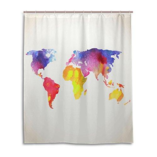Cortina de ducha con mapa del mundo de colores