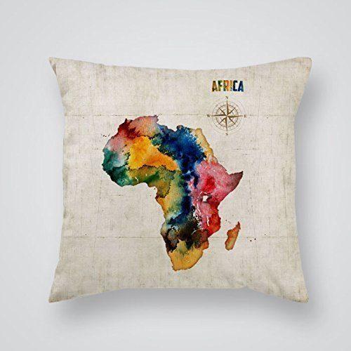 cojin con mapa de africa artistico